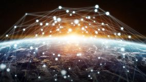 Global network and datas exchanges over the planet Earth 3D rend Royalty Free Stock Photography