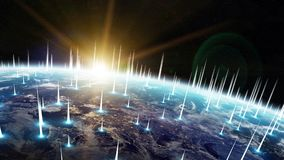 Global network and datas exchanges over the planet Earth 3D rend Stock Images
