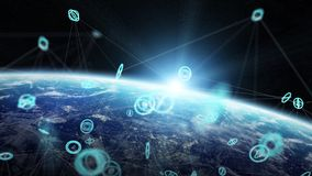 Global network and datas exchanges over the planet Earth 3D rend Royalty Free Stock Photo