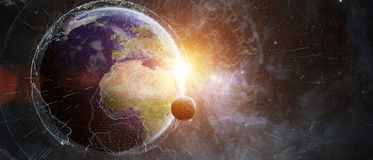 Global network and datas exchanges over the planet Earth 3D rend Stock Image