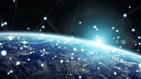 Global network and datas exchanges over the planet Earth 3D rend Stock Photography