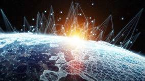 Global network and datas exchanges over the planet Earth 3D rend Royalty Free Stock Image