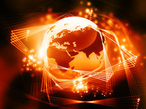 Global network  with  fiber optics. 3d illustration of Global network  with  fiber optics Royalty Free Stock Photos