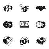 Global network icon set, simple style Royalty Free Stock Photo