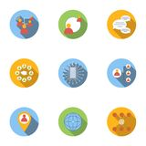 Global network icons set, flat style Royalty Free Stock Photos
