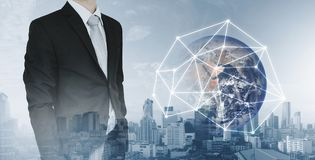 Global network and international global business. Double exposure businessman and city background with global network connection h. Global network and Stock Image