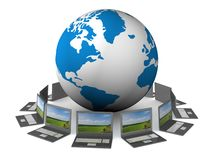 Global network the Internet. 3D image Royalty Free Stock Images