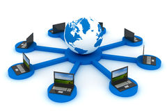 Global network the Internet. 3D image Stock Photos