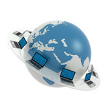 Global network the Internet. Laptops around world. Icon. Concept Stock Photos