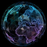 Global network internet technologies. Digital world map Stock Image