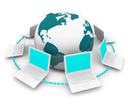 Global Network of Laptops Around Earth. A global network of white laptop computers around planet Earth Stock Images
