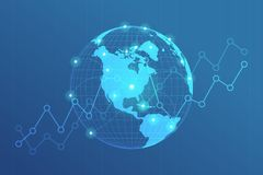 Global network lines connection. World map point with dots connection concept of global business background. stock illustration