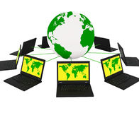 Global Network Means Networking Monitor And Planet Royalty Free Stock Image