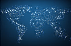 Global network mesh. Earth map. Royalty Free Stock Image