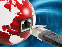 Global network with a network socket on the globe Stock Photos