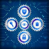 Global network security on the circuit blue background. Royalty Free Stock Photography