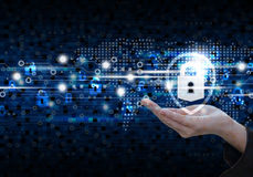 Global network security on digital technology background Royalty Free Stock Photo