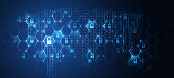 Global Network Security. Vector Stock Photo