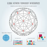 Global network technology infographics with sphere Royalty Free Stock Photo
