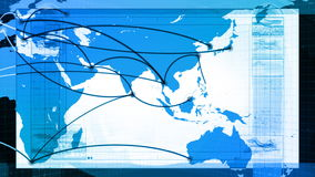Global Network, Travel, Communications. Global map of the world panning, graphic lines animate to and from various major cities around the world. Seamless stock video footage