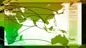 Global Network, Travel, Communications. Global map of the world panning, graphic lines animate to and from various major cities around the world. Seamless stock footage