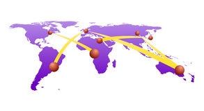 Global network on world map. Map of the world with network connection linking cities Royalty Free Stock Image