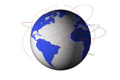 Global networking. A 3D planet earth with all the continents networked stock illustration
