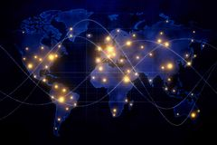 Global networking and communication concept. Abstract map with glowing connections on black background. Global networking and communication concept. 3D Rendering Stock Photos