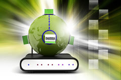 Global networking concept with router Stock Image