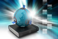 Global networking concept with router Stock Photo