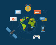 Global networking icons Stock Images