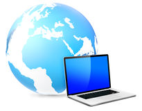 Global networking with laptop. Global networking concept with laptop stock illustration