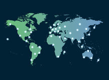Global networking symbol. Of international comunication featuring a world map concept with connecting technology communities using computers and other digital royalty free illustration
