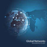 Global Networks. Abstract Blue 3D Global Networks Concept Creative Design Template with Wired Earth Globe and World Map Background for Business, IT or Technology Stock Photo