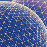 Global Networks background. Large blue sphere over which a gold mesh. Global net communication connect. Science technology concept. Abstract background or Royalty Free Stock Photo