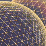 Global Networks background. Large blue sphere over which a gold mesh. Global net communication connect. Science technology concept. Abstract background or Royalty Free Stock Photos