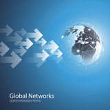 Global Networks - EPS10 Vector for Your Business. Abstract Blue Modern 3D Global Networks Concept Creative Design Template with Wired Earth Globe and Arrows Stock Photography