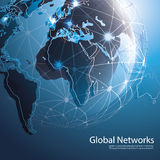 Global Networks -Vector Illustration for Your Business. Abstract Blue Global Networks Concept Design with Earth Globe and Worldwide Connections - Illustration in Royalty Free Stock Photo