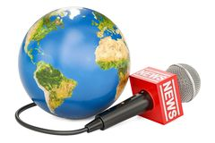 Global news concept, 3D rendering. On white background Royalty Free Stock Images