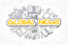 Global News - Doodle Yellow Text. Business Concept. Royalty Free Stock Photo