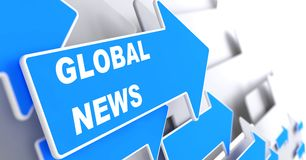 Global News. Information Concept. Global News - Information Concept. Blue Arrow with Global News slogan on a grey background. 3D Render Royalty Free Stock Images