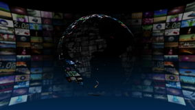 Global News Media Technology Graphics 4K stock video