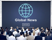 Global News Online Technology Update Concept. Business People Listening Global News Online Technology royalty free stock photos