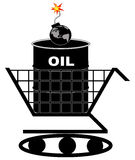 Global oil crisis. Oil barrel in shopping cart with earth as bomb - oil crisis concept - vector Stock Photo