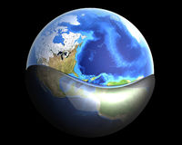 Global Oil. A globe swimming in Oil or Petrol. 3D rendered illustration Stock Photo