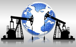 Global oil resources. Pump jack silhouettes and earth globe , global oil resources Royalty Free Stock Photos