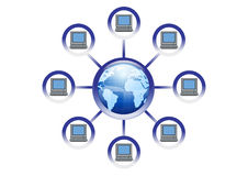 Global Online Computer Network Illustration Stock Photography