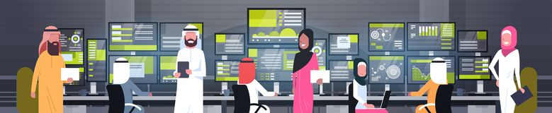 Global Online Trading Concept Arab People Group Working With Stock Exchange Monitoring Sales Horizontal Banner. Flat Vector Illustration Royalty Free Stock Images