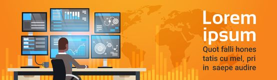Global Online Trading Concept Man Working With Stock Exchange Monitoring Sales Over World Map Horizontal Banner. Flat Vector Illustration Stock Images