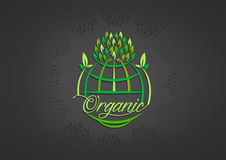 Global organic symbol design. Isolated in black background Vector Illustration